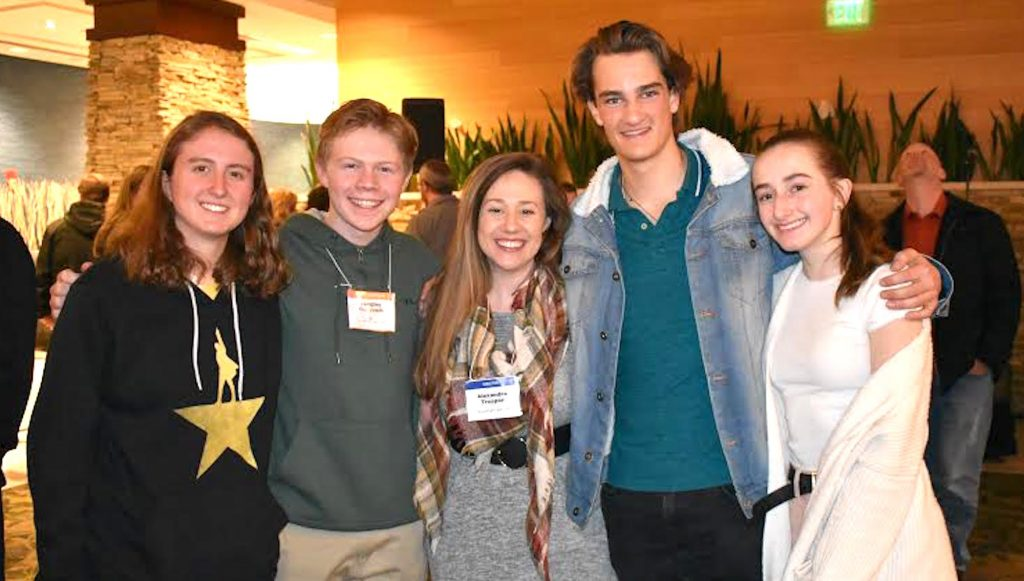 Ariana Lipton, Langley Cerovich, Coach Alexndra Trosper, Ethan Pyke, Madi Raichart in Denver for Colorado All State Choir rehearsals and performances. Including Andrea Grewe from Eagle Valley, five Eagle County students made All State.