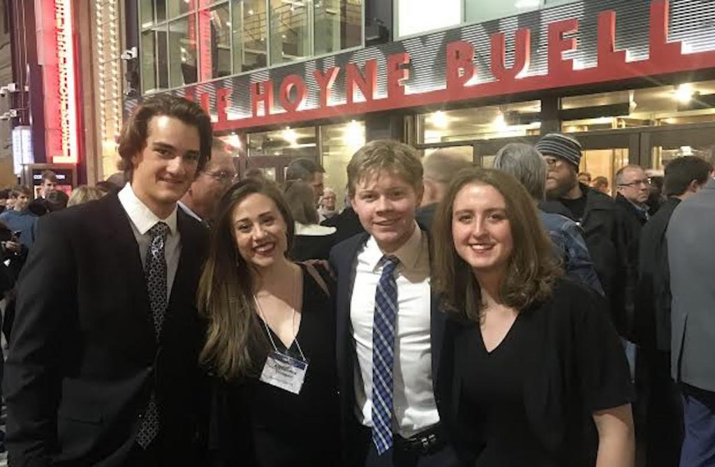 Ethan Pyke, Alexandra Trosper, Langely Cerovich and Ariana Lipton outside Denver's Buell Theater for their performance with Colorado's All State Choir.