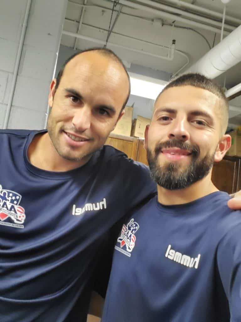 American soccer legend Landon Donovan, left, is on the U.S. national ream roster with local soccer legend Cesar Castillo. The Freedom FC qualified for the nationals later this month in Houston.