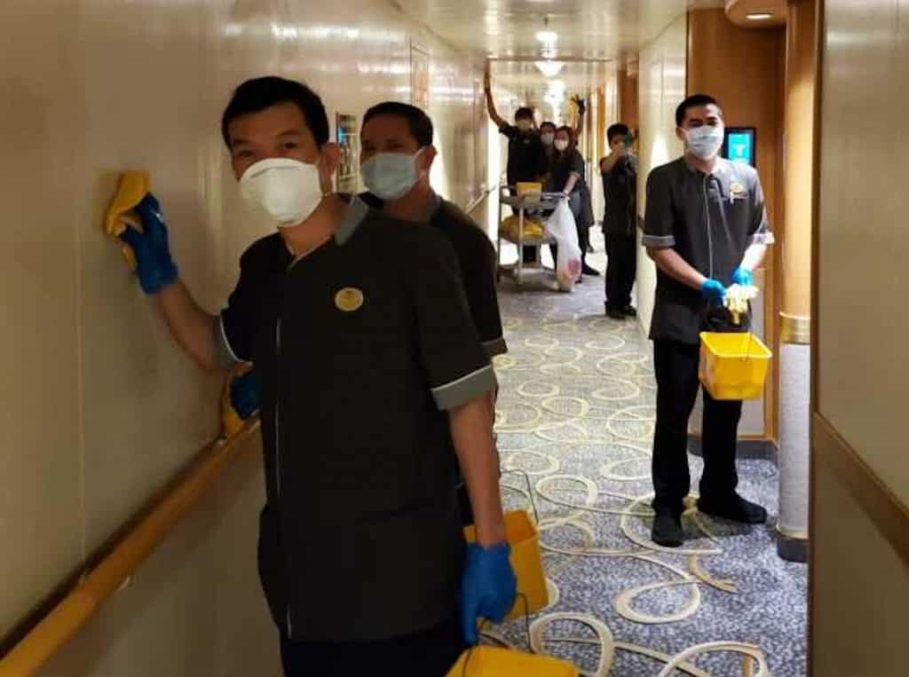 Grand Princess crews scubbed every inch of their ship as it was quarantined off the coast of San Francisco.