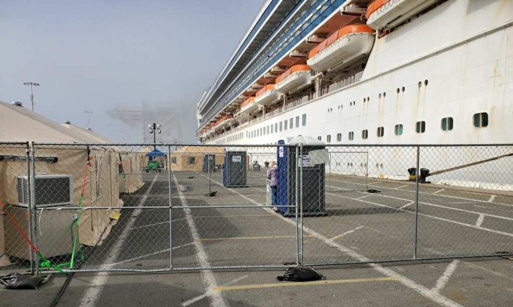 The Grand Princess docked in Oakland, California.