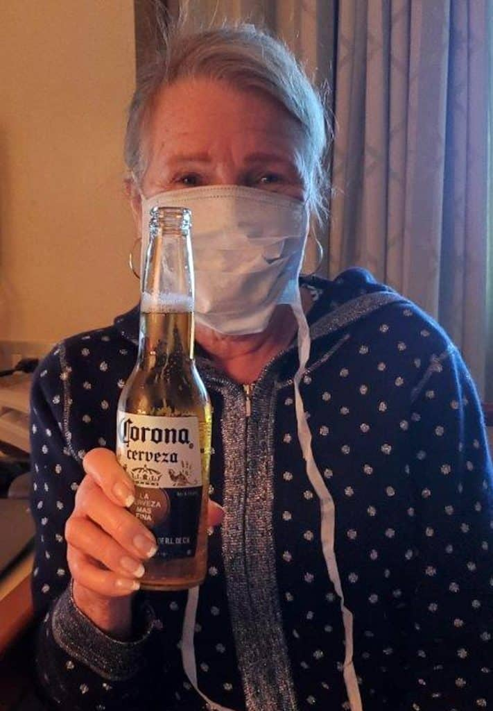 That's Bonnie Sims, and that adult beverage she's holding is not what causes coronavirus.