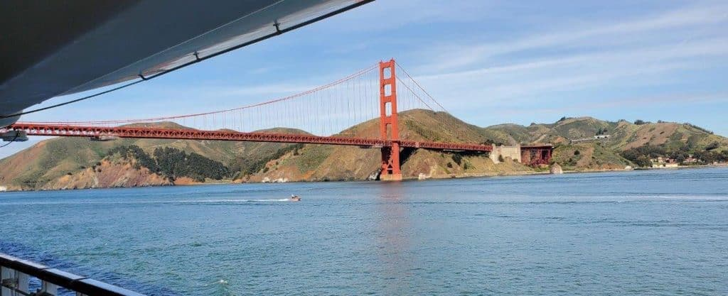 Passengers aboard the Grand Princess cruise ship had a view of the Golden Gate Bridge.