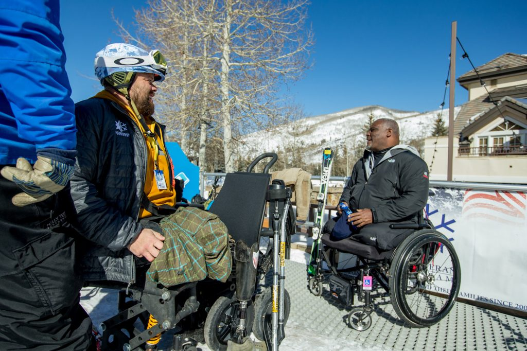 Army Sgt. Latseen Benson (Ret.) and Col. Greg Gadson (Ret.) enjoy the weather in Vail over the weekend. The Vail Veterans Programs are free for military veterans injured in the Middle East and their families.