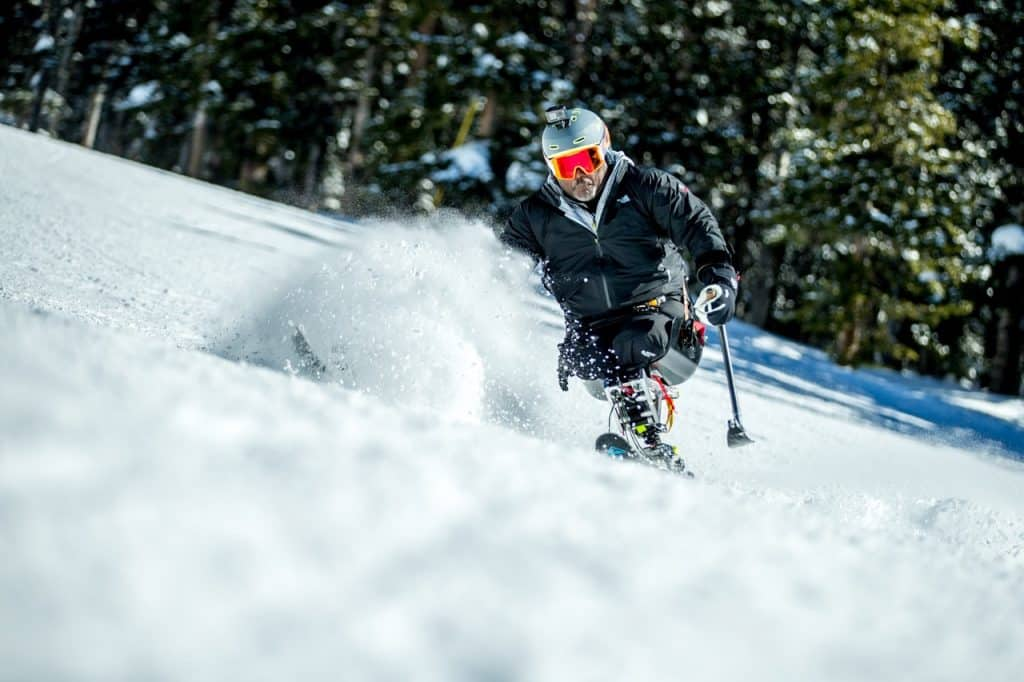 Col. Greg Gadson makes turns in his sit-ski on Vail Mountain. Gadson is a past participant and an ambassador of the Vail Veterans Program.
