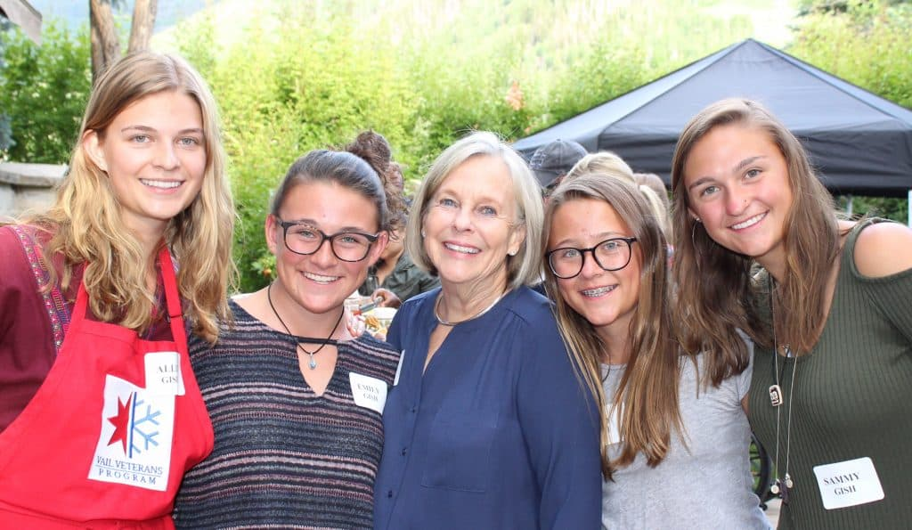 Allison Gish, left, volunteered at a Vail Veterans Program dinner with her sisters and her grandmother, Ann Smead, center.