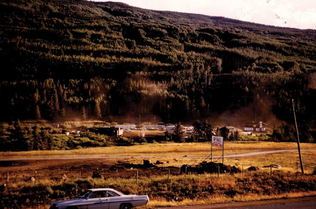 Construction began in the spring of 1962 and finished in time for opening day. They had everything except the snow. Opening day was delayed until Dec. 15. Trailers housed construction crews that summer. This is the Vail that Lorraine and Harley Higbie moved their family to.