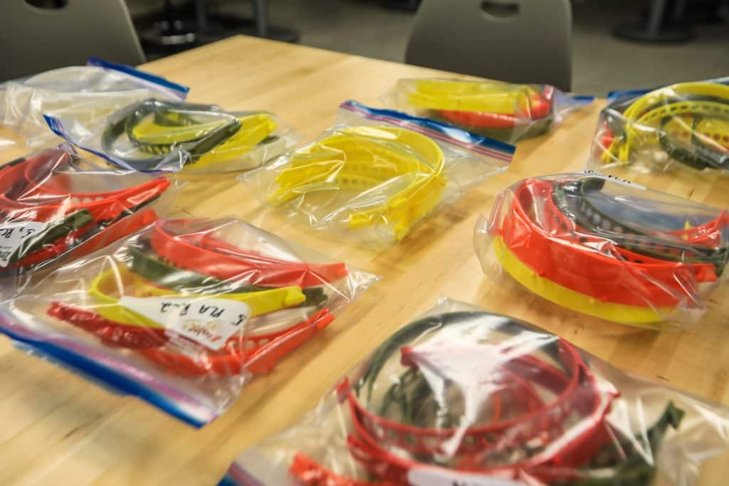 Face masks sit waiting to be assembled Monday at Vail Christian High School in Edwards. The school has become a major contributor to Personal Protective Equipment.