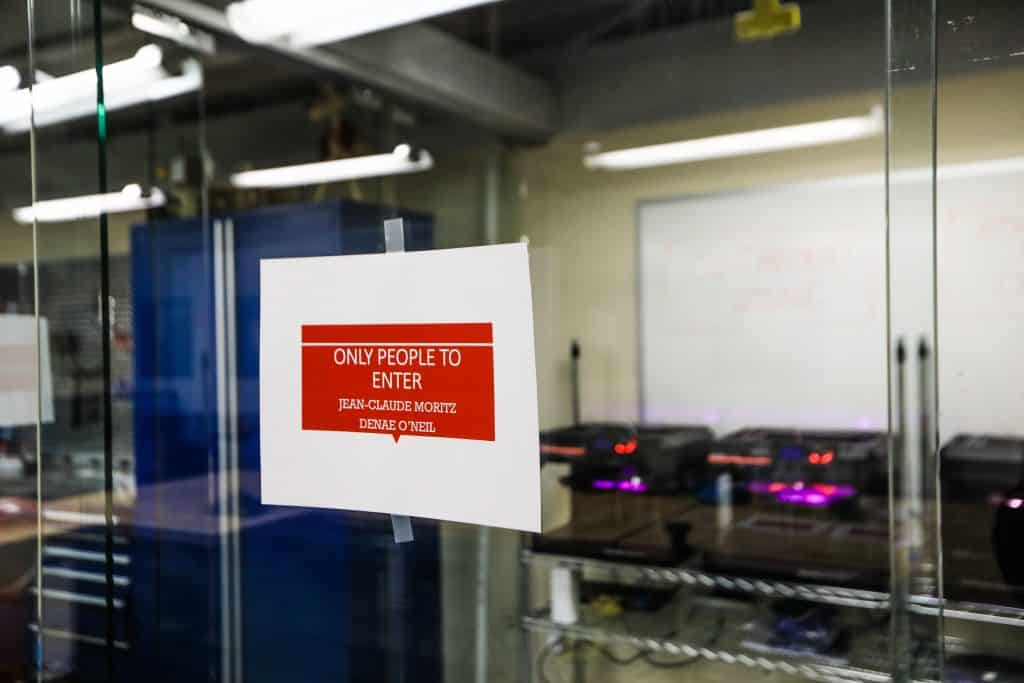The work stations in the lab have been thoroughly cleaned and disinfected while 3-D printers work to make face masks Monday at Vail Christian High School in Edwards.