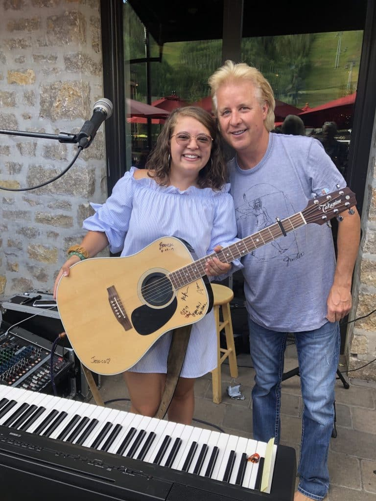 Phil Long, co-owner of the Vail and Beaver Creek Chophouse poses with his daughter, Jessica Long, on the deck of the Vail Chophouse last summer. The duo has been hosting Facebook Live concerts and fundraisers during the COVID-19 pandemic.