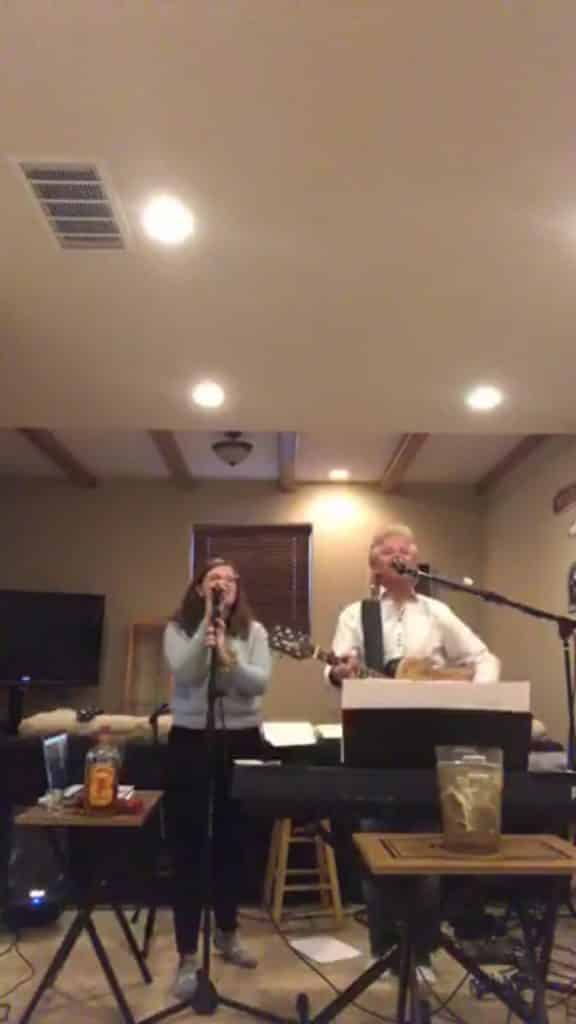 Phil Long and daughter Jessica Long perform for an audience on Facebook Live from their basement in Eagle. The duo has raids nearly $40,000 for COVID-19 relief efforts.