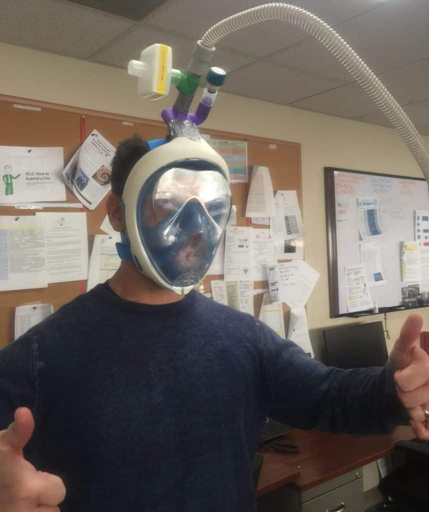 It's based on a full-face snorkel mask that's attached to a Continuous Positive Airway Pressure machine.