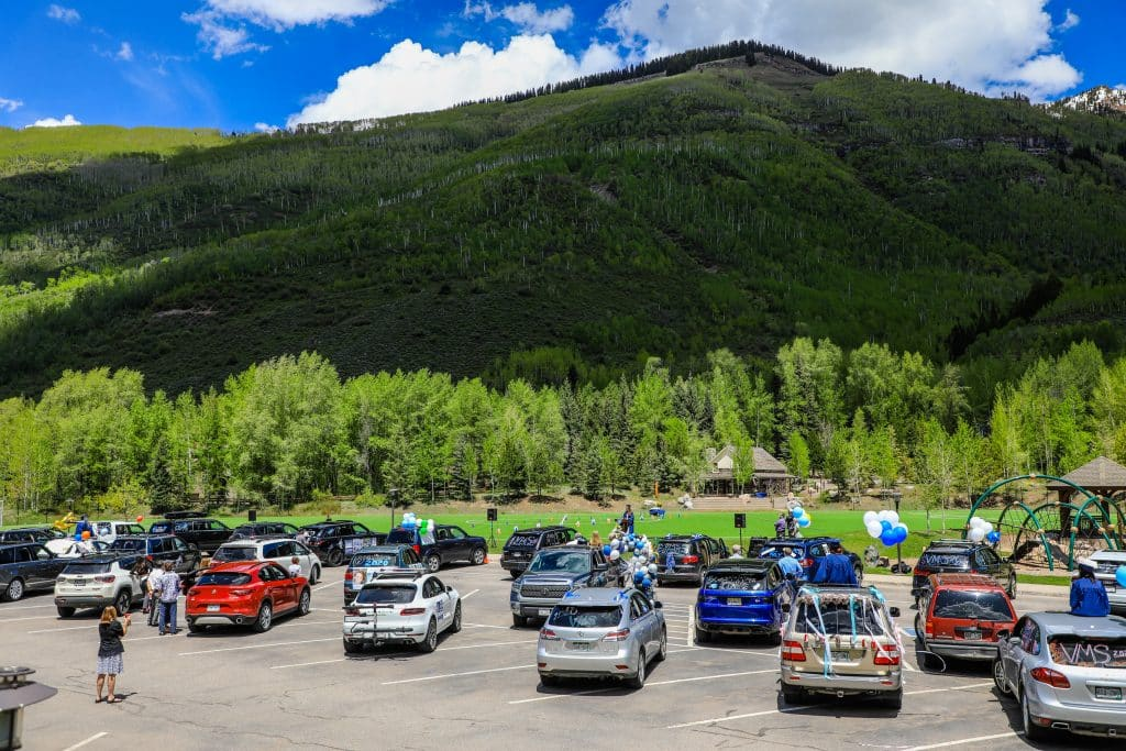 The scene at the VMS parking lot on Saturday.
