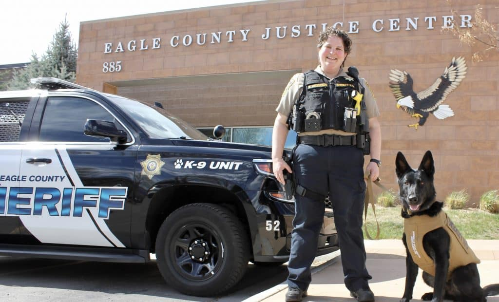 Eagle County Sheriff's Dep. Rebecca Anderson and Echo the drug detection K9 she handles are both decked out in body armor. Echo's was provided by a national organization and a local donor.