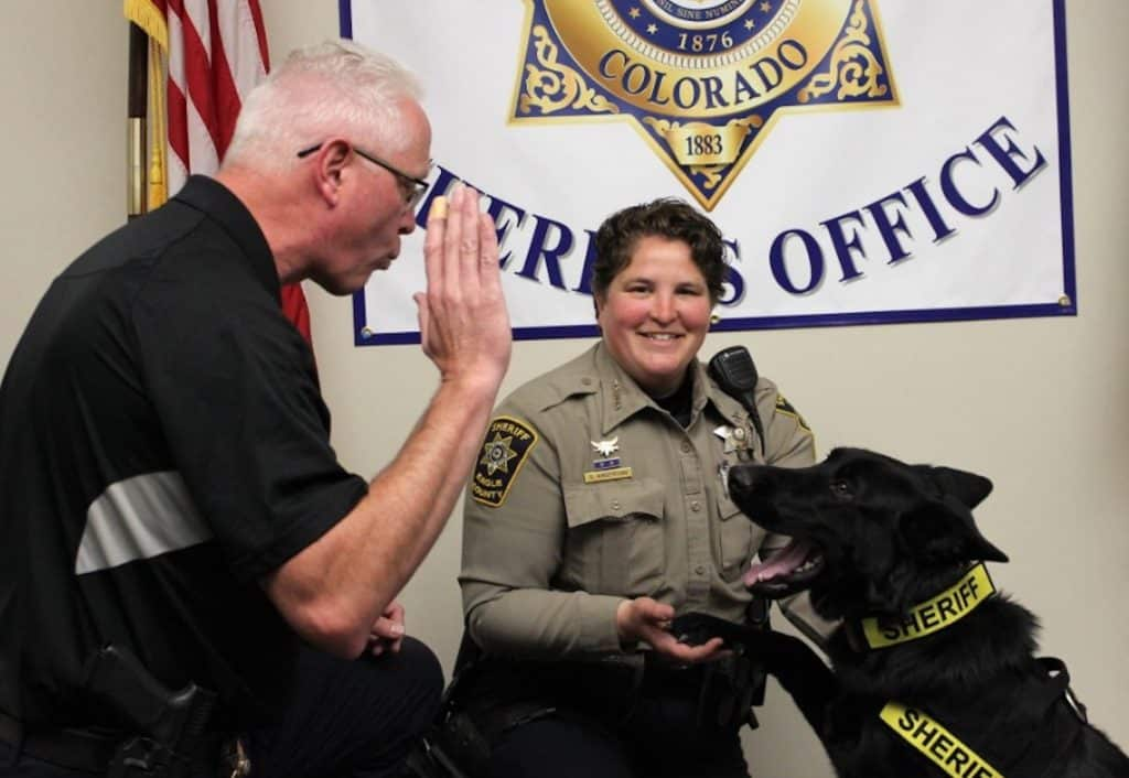 When Echo joined the Sheriff's Office last year, Eagle County SheriffJames van Beek swore her in.