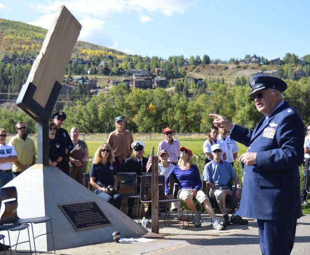 Buddy Sims helped arrange for the block of Pentagon limestone blasted from the building's walls during the 9/11 attacks to be brought to Freedom Park in Edwards and made part of a permanent display.