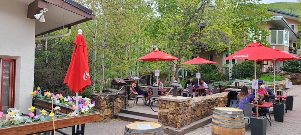 Expanding seating at bars and restaurants to outdoor spaces, as seen here at the Big Bear Bistro in Vail Village, helps businesses serve more guests while maintaining social distancing.