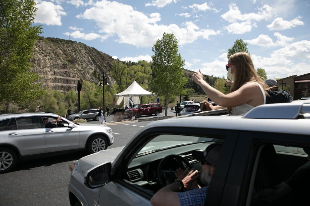 One of Vail Christian High School's many traditions is a staff salute. They did it this year as an automobile procession.