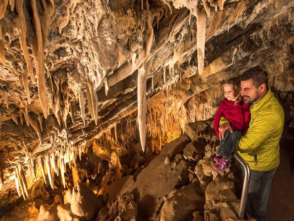 At Glenwood Caverns Adventure Park in Glenwood Springs both walking cave tours are available and the restaurant and viewing decks are open.