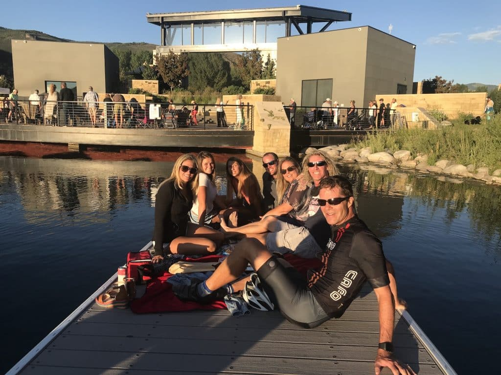 A group enjoys the free live music on a Sunday night on the back of the Avon Performance Pavilion. SunsetLIVE! was designed to provide ambient entertainment to those enjoying Nottingham Lake in Avon.