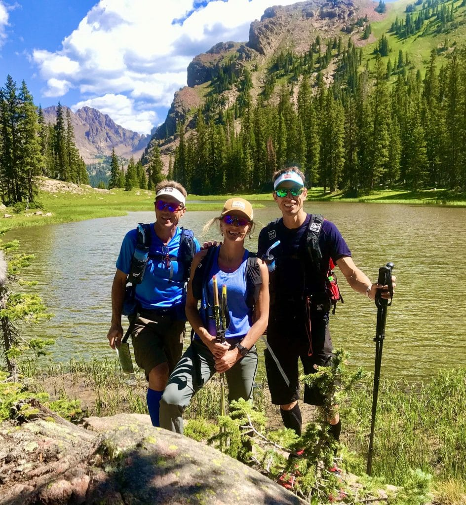 Local teammates, left to right, Mike Kloser, Gretchen Reeves and Josiah Middaugh train for the Eco-Challenge adventure race up near Piney Lake last summer in preparation for the event in Fiji last September.