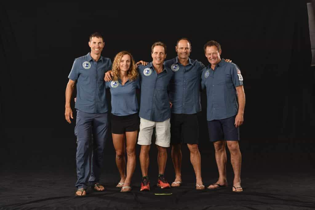Team OutThereUSA poses for a team photo before the event in Fiji in September of 2019. Team members left to right: Josiah Middaugh, Gretchen Reeves, Mike Kloser, Gordon Townsend and support team member Neil Jones.