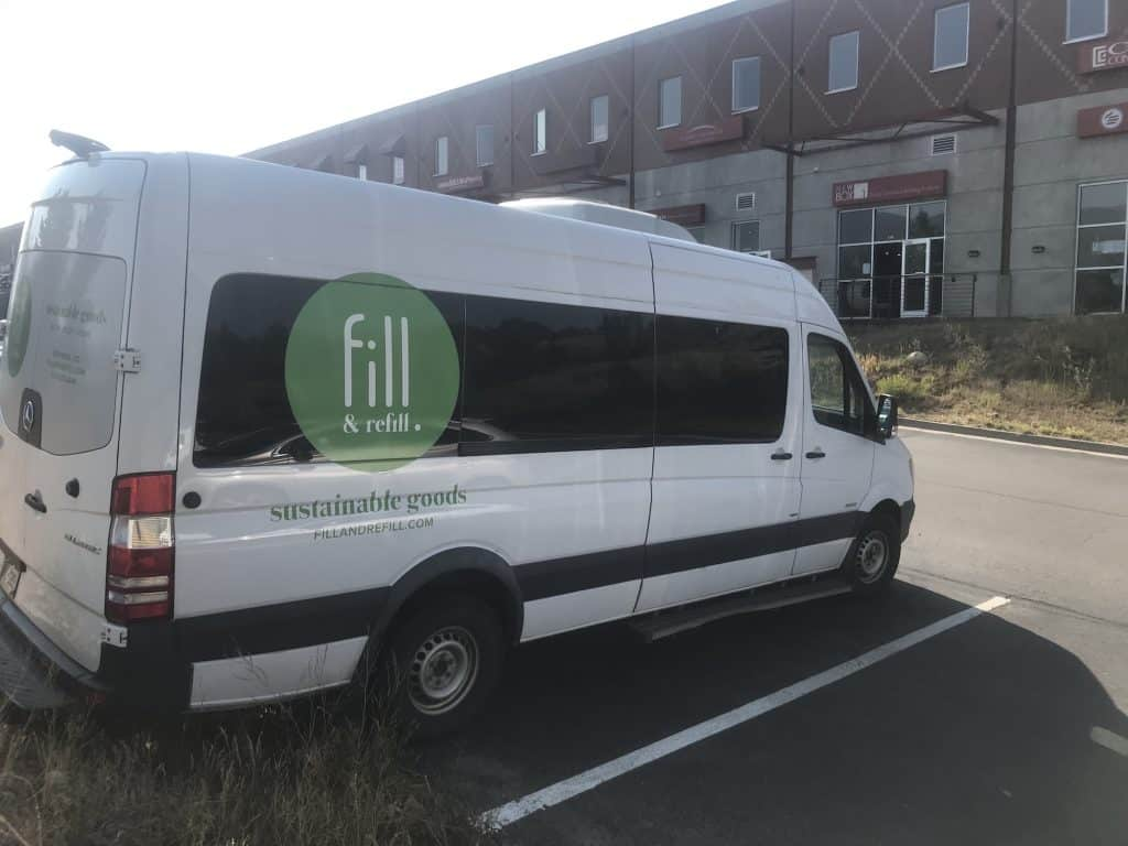 Fill & Refill has a new sprinter van to allow delivery of products from the store.