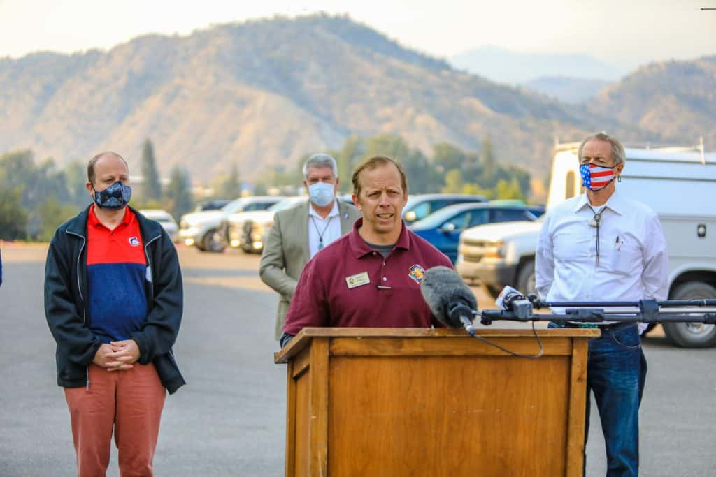 Marty Adele, incident commander for the Grizzly Creek Fire, gives an update Friday at the Eagle County Fairgrounds in Eagle. The fire is expected to grow in the coming days with little humidity and hot weather.