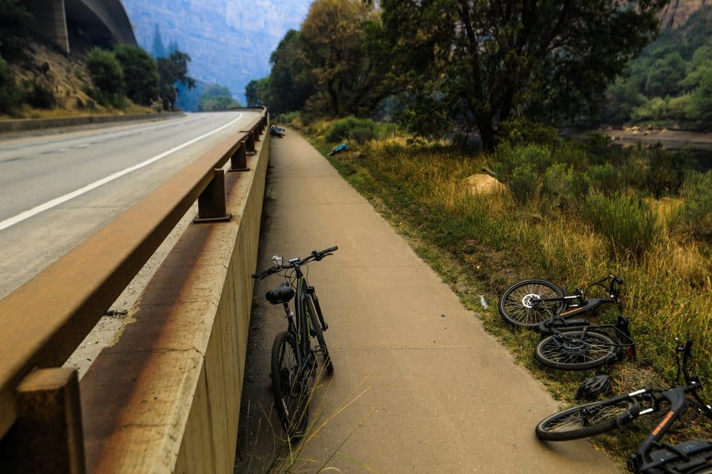 Bikes lay abandoned Sunday in Glenwood Canyon Sunday near Glenwood Springs. Multiple bikes lay were left in that area.