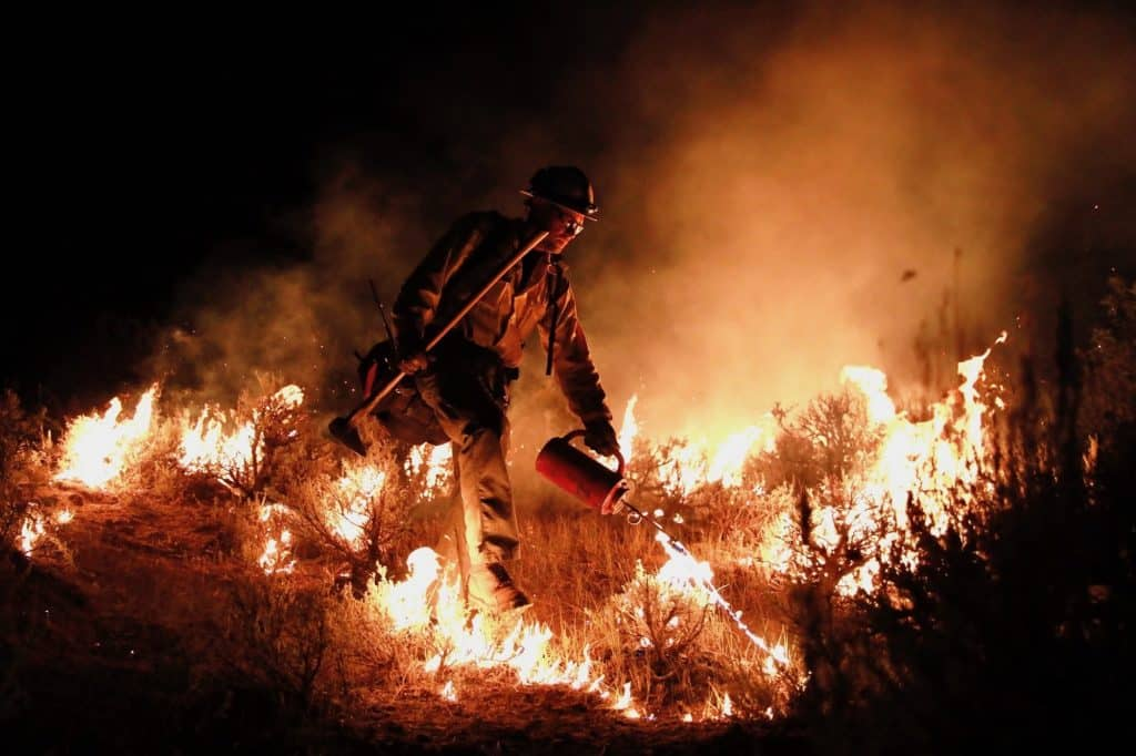 A firefighter works to hold the fire line on the Grizzly Creek Fire at night on Aug. 15.