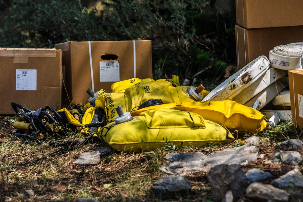 Water bladders sit ready at the Coffee Pot Spike Camp Friday near Dotsero. The camps are stocked with supplies and food for fire fighters.