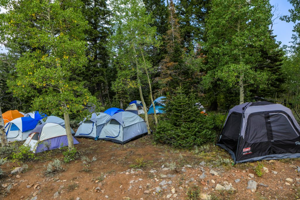 Tents at the Coffee Pot Spike Camp August 21 near Dotsero. Multiple Spike Camps are set up around the Grizzly Creek Fire.
