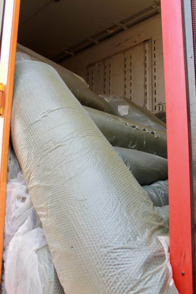 Rolls and rolls of carpet padding are available for sale at the Home to Home sale.