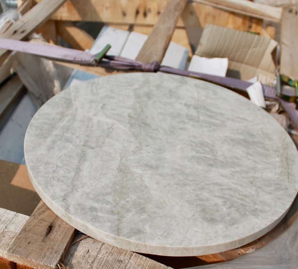A number of round marble tabletops are part of the Alliance sale.