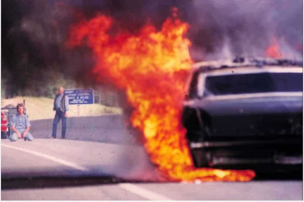 Randy Wyrick was driving his wife's Cadillac over Vail Pass one day in the 1990s. The car caught fire and burned to a cinder.