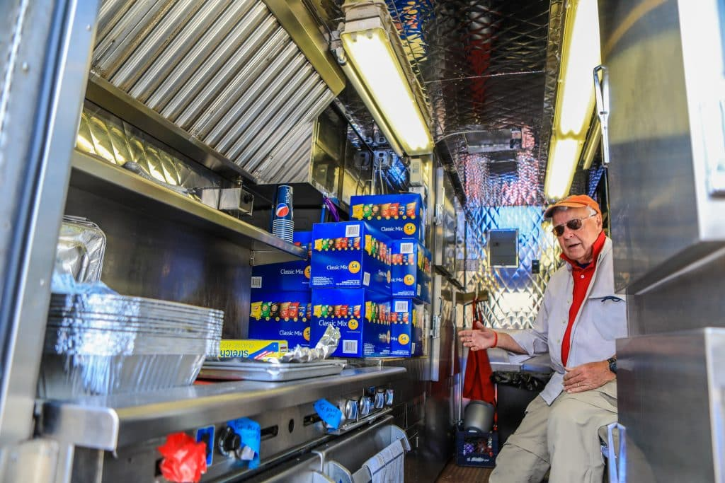Dan Smith, who is in charge of disaster services for the Vail Valley Salvation Army, gives a tour of the mobile kitchen Tuesday at Battle Mountain High School in Edwards. The vehicle is outfitted to provide relief to local disasters.