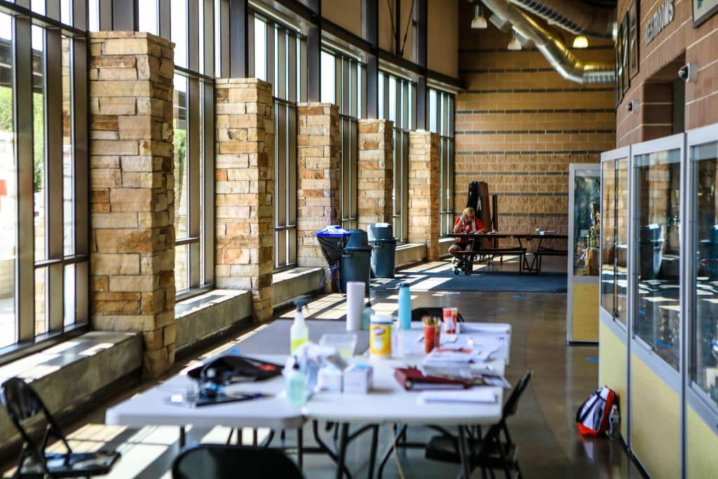 Battle Mountain High School was outfitted to be a shelter for Grizzly Creek Fire evacuees. As of now the fire poses no further threat and the shelter will be dismantled today.