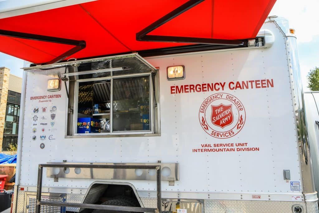 Vail Valley's Emergency Canteen is set up Tuesday in Edwards. It was stagged to provide meals to possible evacuees from the Grizzly Creek Fire if it came down to that.