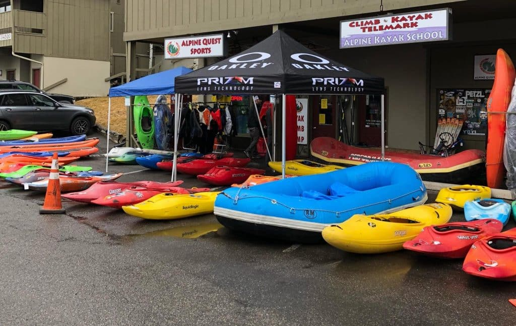 A photo from Swap 2018 shows the variety and sizes of boats available.  In addition to kayaks and rafts, paddleboards, dry tops and more will be on sale at the Alpine Quest Sports Swap from 9 a.m. to 6 p.m. until Sunday.