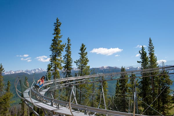 The Forest Flyer Mountain Coaster is open daily at the top of the Eagle Bahn Gondola out of Lionshead.