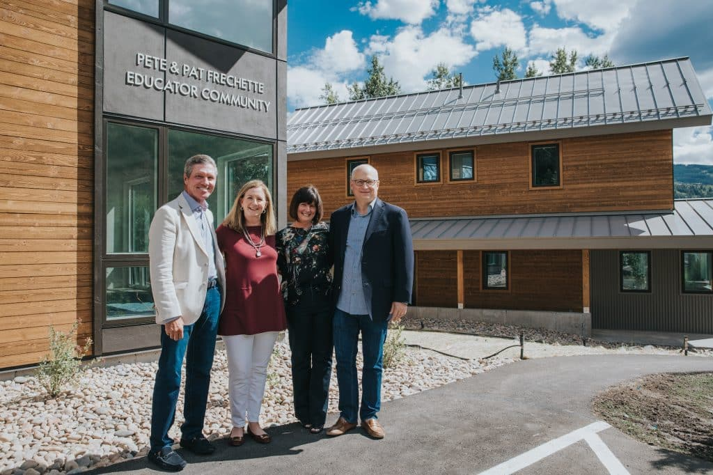 From left, Bill Woolfolk, Kristy Woolfolk, Kathy Tenhula and Peter Tenhula celebrate the completion and opening of the Pete and Pat Frechette Educator Community.