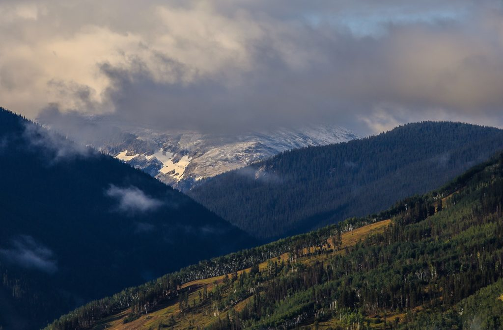 Snow-capped peaks atop the Sawatch Range on September 1, 2020.
