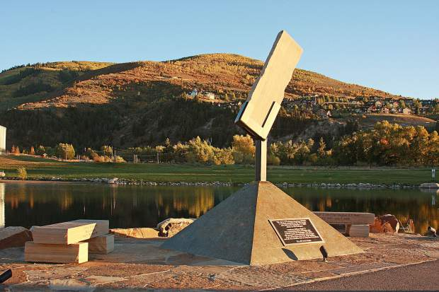 A 600 pound piece of limestone from the Pentagon's west wall sits on the west end of the pond at Freedom Park in Edwards as a memorial to the victims of 9/11 and honors fallen veterans, police and emergency personnel from Eagle County.