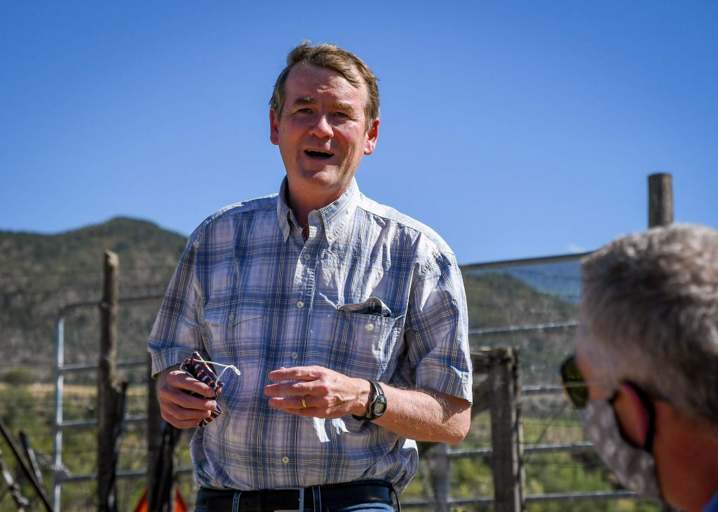 Sen. Michael Bennet speaks with local officials and community members at the Colorado Outdoor Recreation and Economy Act (CORE) event held at the Fales Ranch south of Carbondale on Wednesday afternoon.