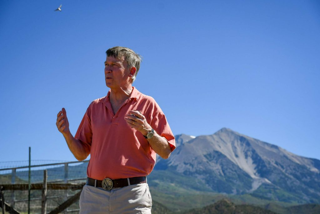 Sen. candidate John Hickenlooper speaks with local officials and community members at the Colorado Outdoor Recreation and Economy Act (CORE) event held at the Fales Ranch south of Carbondale on Wednesday afternoon.