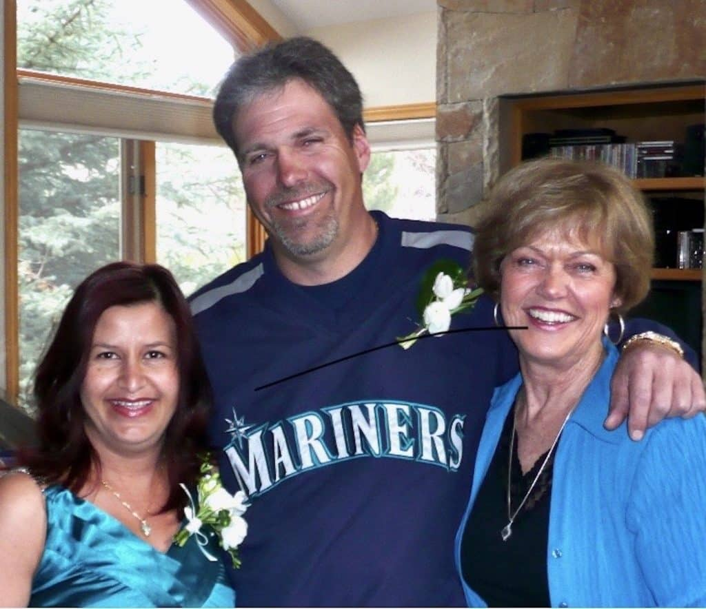 Pati Ruiz Roe, left, husband Mike Roe and mother-in-law Sheri Ball.