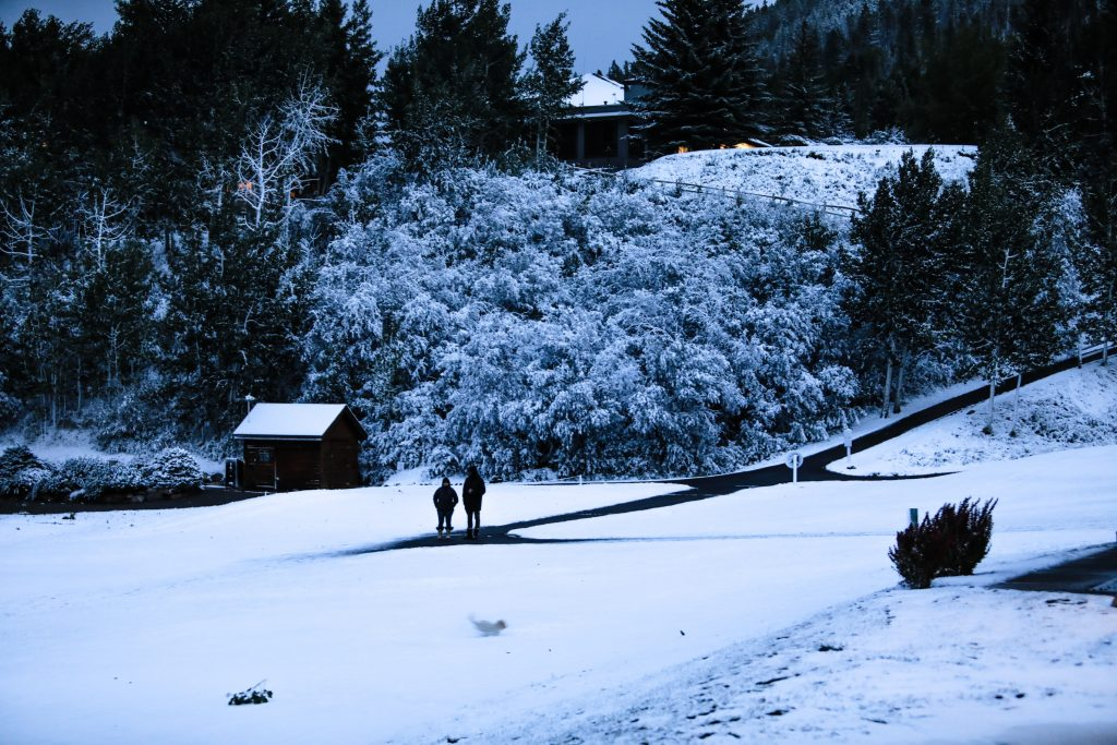 People watch their dog have fun in the new snow Tuesday in EagleVail. More moisture is forecasted for Thursday.