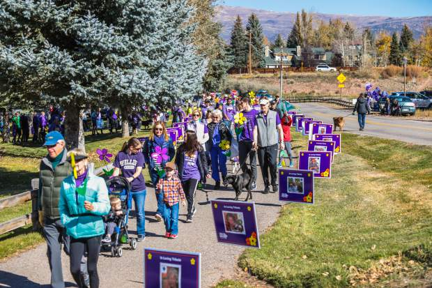 The Vail Valley Walk to End Alzheimer's disease takes place on Saturday. Instead of walking as a big group at Brush Creek Park in Eagle, participants will be walking with family members and friends on neighborhood streets and trails.