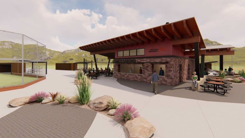 A rendering of the new concessions and restrooms building at the Eagle Sports Complex in Eagle.