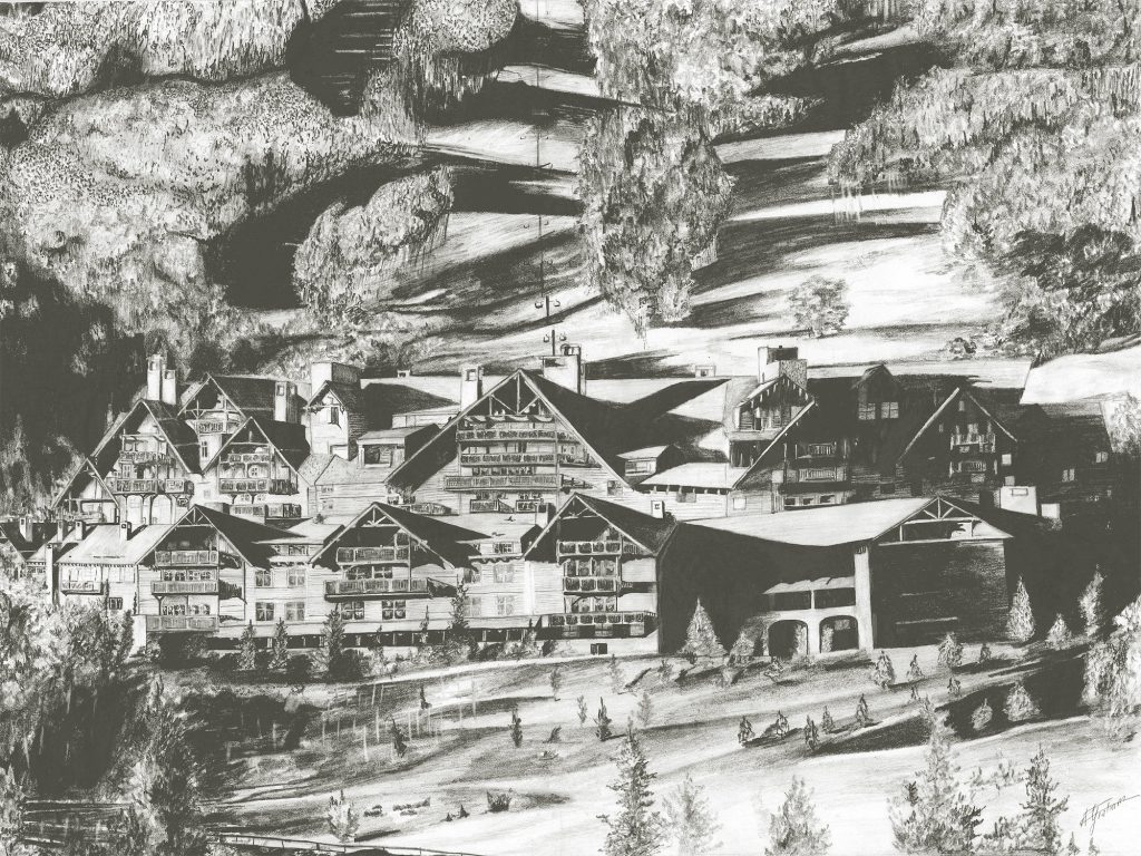 Andrew Graham used to work at the Ritz Carlton Bachelor Gulch and would use the grand architecture of the property as inspiration to draw landscapes. Graham's work can be found on his Instagram account: @artastic1995